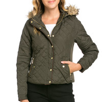 Quilted Padded Puffer Jacket with Faux Fur Hoodie Olive