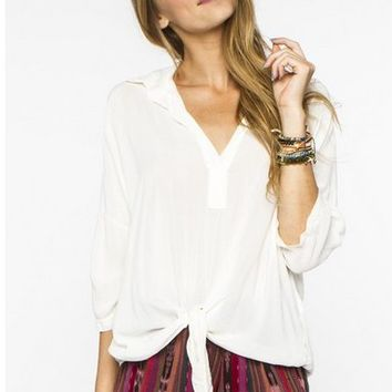 Brandy Melville White Tie Shirt
