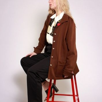 70s Brown Button Down Jacket / L