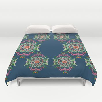 Folk Art Medallions on indigo blue Duvet Cover by Heaven7 | Society6