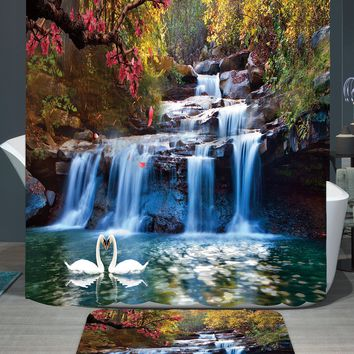 180*150cm 1Pcs Shower Curtains Swans Flowers Cascade Design Water Resistance Fabric Polyester Home Bathroom Curtains And Rug Set