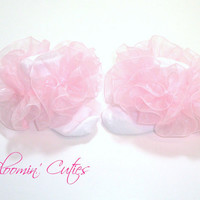 Little Miss Bella Light Pink Organza Newborn Infant Toddlers and Girls SUPER RUFFLE SOCKS by Bloomin Cuties Boutique