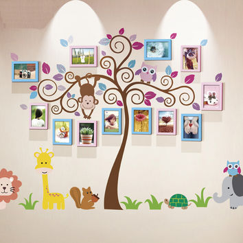 Unique family photo wall decal and frame mix