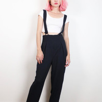 Vintage 1990s Suspender Jumpsuit Navy Blue High Waisted Pants Wide Leg Slacks Suspenders Romper 90s Soft Grunge Jumper Pinafore S M Medium