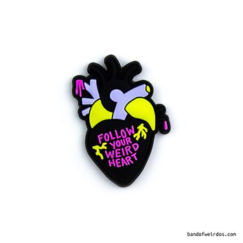 Follow Your Weird Heart 3D Pin in Black, Purple and Yellow Anatomical Heart