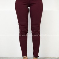 Skinny Stretch Jeggings | Wine