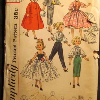 "SALE UnCut 1950's Simplicity Sewing Pattern, 2293! 23"" Dolls/Clothing & Doll Accessories/Dress/Blouse/Cape/Skirts/Muff/Hood/Bodice/Pants/Gow"