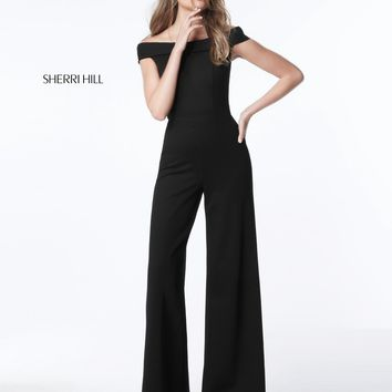 Sherri Hill 51433 Off-The-Shoulder Jersey Jumpsuit