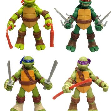 4Pcs/Set Fashion Hot 12CM Christmas Kids Gift Dolls Children Japan Animation Cartoon Ninja Turtle Boys Safety PVC Hand do Toys
