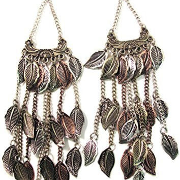 Metal Leaf Fringe Extra Long Earrings