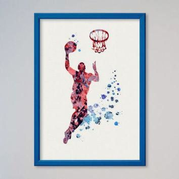 CREYUG7 Basketball Player Poster Watercolor Print Sport Baseball Michael Jordan illustration A
