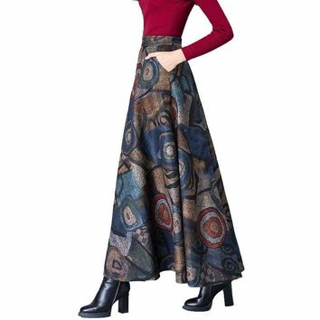 Elegant Print Vintage Warm High Waist Wool Maxi Long Skirt