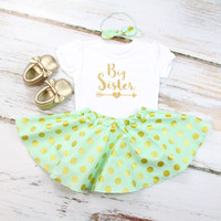 Big Sister outfit | Mint & Gold Dots, Gold Big Sister with Arrow Outfit | Mint Twirl Skirt and Knotted Headband