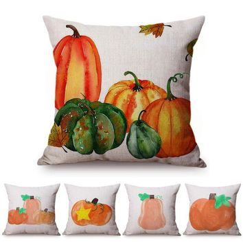 Orange Yellow Pumpkin Thanksgiving Watercolor Painting Home Decoration Sofa Cushion Cover Fall Festival Party Throw Pillow Cover