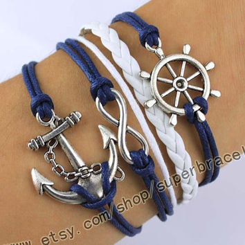 Pilot anchor Bracelet, infinity bracelets, bracelets, Antique Silver Bracelet, wax rope, navy blue leather, the gift of friendship