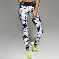 Black & White Splatter Printed Women's Fitness Leggings