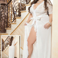 Plus Size Ivory Fur Trim Sheer Mesh Lace Robe Lingerie