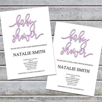 Girl Baby Shower Invitations Girl Purple Printable Baby Shower Template Baby Shower Invites Instant Download (v32A