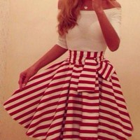 Red and White Striped 3/4 Sleeve Mini Dress