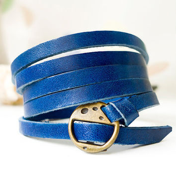 Elegant & Chic Gem Blue Leather Wrap Bracelet
