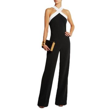 Womens Jumpsuits Halter Neck Sleeveless Off Shoulder Long Jumpsuits