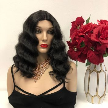 """Black Wavy Lace Front Wig 10""""  1118 76"""
