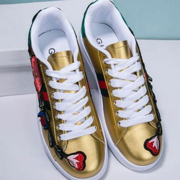 Gucci:Trending Fashion Casual Running Sports Flower Embroider Shoes Golden G