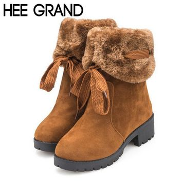 Soft Faux Fur Lace-Up Round Toe Mid-Calf Medium Square Heels Women's Winter Boots
