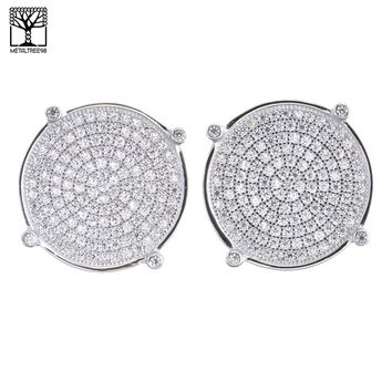 Jewelry Kay style Men's Iced Out Sterling Silver Micro Pave Round CZ Screw Back Earrings SHS 475 S