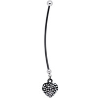 Black Heart Silver Tone Rhinestone Pregnant Belly Ring | Body Candy Body Jewelry
