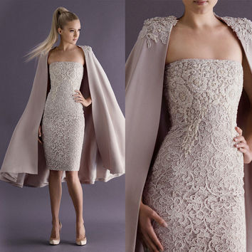 Elegant Strapless Lace Cocktail Dresses with Long Coat Special Occasion Dress Sheath Custom Made Formal Party Gown SBS10