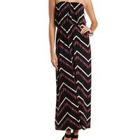 Chevron Print Strapless Maxi Dress by Charlotte Russe