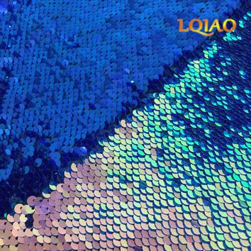 Fluorescence Gold Dark Blue Reversible Sequin Fabric By the yard Mermaid Fabric for Dress Wedding Photo Booth DIY Craft Sewing