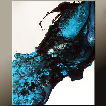 Abstract Canvas Art Painting 16x20 Blue Contemporary Original Wall Artwork by Destiny Womack - dWo - Stardust