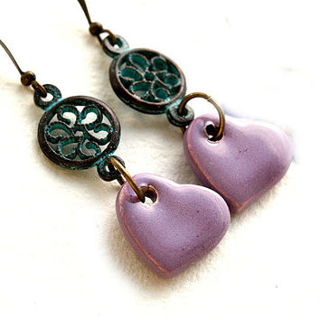Purple heart earrings, Lovely Earrings, Rustic Jewelry, Patina Earrings, Heart Jewelry, Dangle Earrings, Boho Jewelry