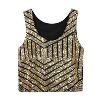 Gold Striped Crop Vest With Sequins