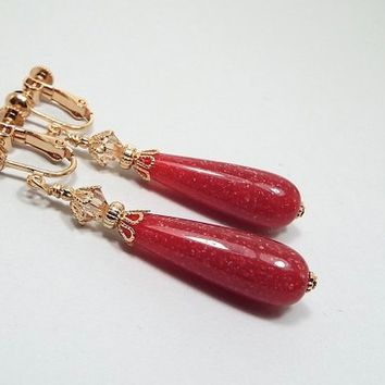 Clip on Earrings, Raspberry Pink Earrings, Teardrop Earrings, Gold Plated, Made with Vintage Confetti Lucite Beads, Spring Summer
