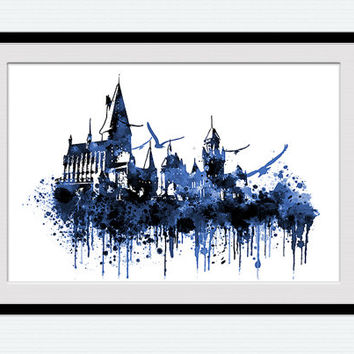 Hogwarts castle illustration, Harry Potter poster, watercolor print, blue painting wall art, nursery, kids room, colorful gift art, W104
