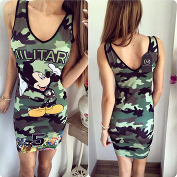 Camouflage Letter and Mickey Mouse Print Sleeveless Dress