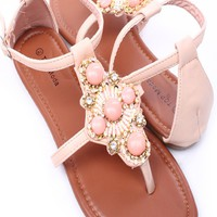 LIGHT BLUSH FAUX LEATHER EMBELLISHED THONG SANDALS