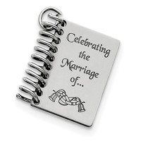Sterling Silver Personalizable Wedding Book Charm QC7184