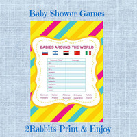 Babies Around the World -Printable Baby Shower Game-Instant Digital Printable- Colorful Stripe Background