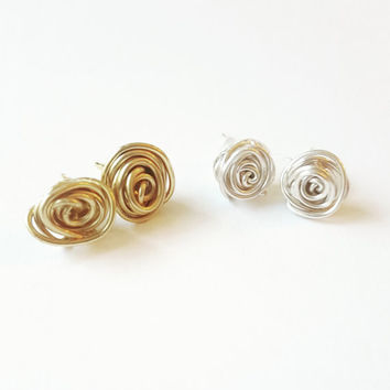Knot earrings, help me tie the knot, be my bridesmaid, bridesmaid gifts, stud earrings, gifts for her, anniversary gift, rustic rose