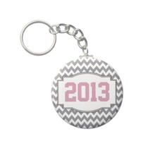 Class of 2013 Chevrons Graduation - Pink Gray Key Chain from Zazzle.com