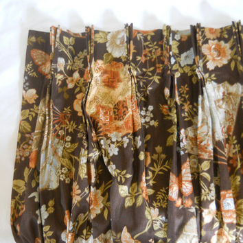 Mid Century Drape Brown Curtain Floral Drape Butterfly Curtain Living Room Drape Bedroom Drape Floral Curtain Panel Dining Room Curtain 60s