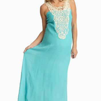 Aqua Crochet Front Linen Maternity Maxi Dress