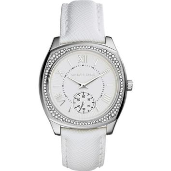 Michael Kors Women's MK2385 Bryn Round White Leather Strap Watch | Overstock.com Shopping - The Best Deals on Michael Kors Women's Watches