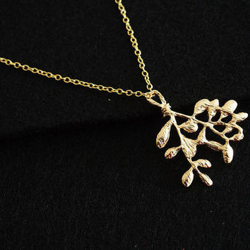 Branch leaves necklace gold, leaf Necklace, family tree necklace, 18K gold over pure brass , Personalized Gift for Women