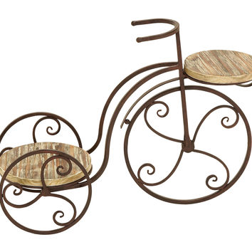 Garden Two Shelf Tricycle Planter Stand For Your Plants