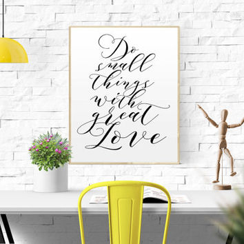 """INSPIRATIONAL """"Do Small Things With Great Love"""" typography print poster motivational quote gallery wall poster scandinavian minimalist home"""
